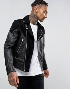 Байкерская куртка из кожи и замши с молниями Diesel L-BORT - Черный