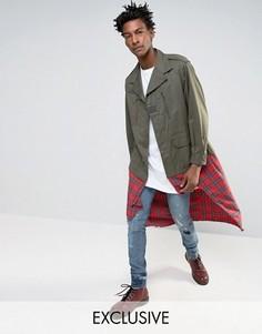 Куртка в стиле милитари со вставкой тартан Reclaimed Vintage - Зеленый
