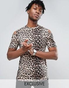 Футболка с леопардовым принтом и вырезами на плечах Reclaimed Vintage - Коричневый