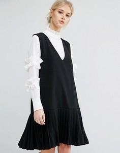 Цельнокройное платье без рукавов со складками на подоле Zacro - Черный