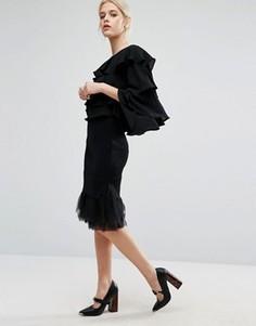 Вязаная юбка с низом из органзы Zacro - Черный