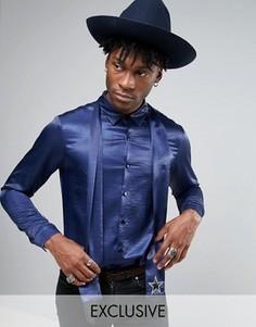 Атласная рубашка для вечеринок со звездами на шарфе Reclaimed Vintage - Темно-синий