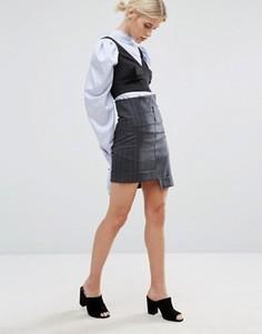 Мини-юбка в полоску со ступенчатым низом Zacro - Черный
