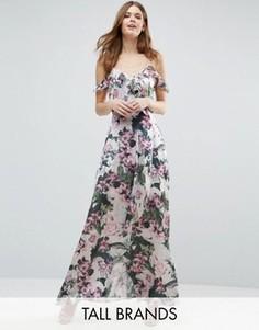 Платье макси с открытыми плечами и цветочным принтом Vero Moda Tall - Мульти