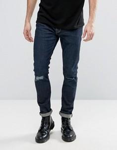 Джинсы скинни с дырками на коленях AllSaints - Синий