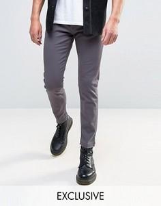 Серые узкие джинсы с необработанной кромкой Mennace - Серый