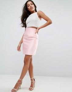 Атласная юбка с корсетной отделкой ASOS Premium - Розовый