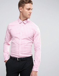 Розовая эластичная приталенная рубашка в клеточку ASOS - Розовый