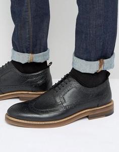 Черные кожаные броги на толстой подошве ASOS - Черный