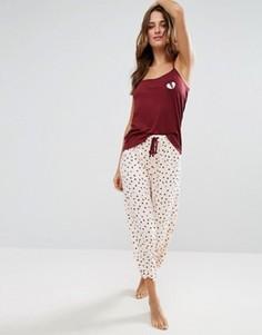 Пижамный комплект со штанами Chelsea Peers Valentines - Розовый