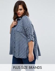 Рубашка размера плюс в клетку Koko - Синий