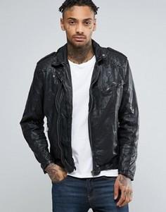 Кожаная байкерская куртка Pepe Godot - Черный