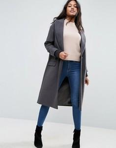 Пальто с отделкой на манжетах ASOS - Серый