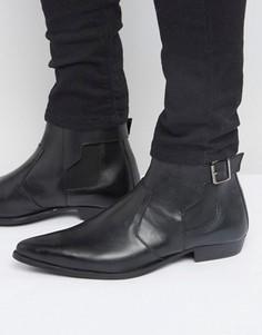 Черные кожаные ботинки челси с ремешками на пряжках ASOS - Черный