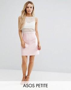 Структурированная атласная юбка ASOS PETITE Premium - Розовый