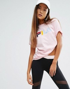 Свободная футболка бойфренда с разноцветным логотипом Fila - Розовый