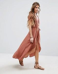 Чайное платье с запахам Honey Punch - Розовый