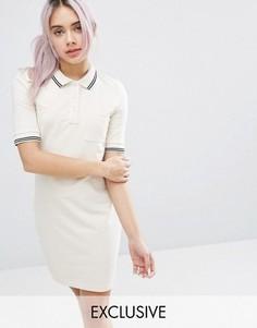 Платье мини колорблок с воротником поло Monki - Белый