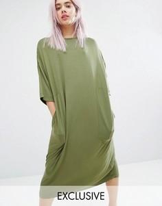 Свободное платье-футболка миди Monki - Черный