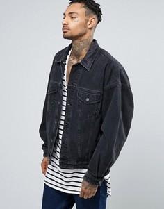 Выбеленная джинсовая куртка в стиле oversize ASOS - Черный