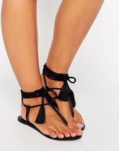 Кожаные сандалии с завязками ASOS FEATURE - Черный