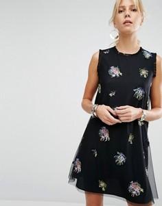 Платье-трапеция с декоративной отделкой Sportmax Code - Черный