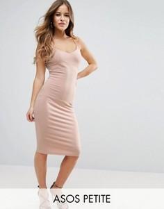 Облегающее платье миди на бретельках ASOS PETITE - Розовый