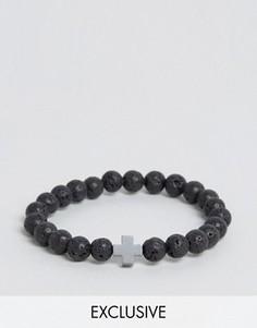 Черный браслет из бусин с крестом Reclaimed Vintage - Черный