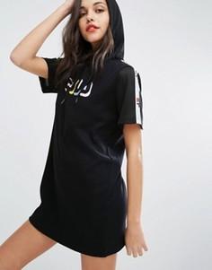 Свободное платье-футболка с капюшоном Fila - Черный