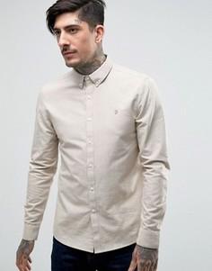 Бежевая оксфордская рубашка слим Farah Brewer - Бежевый
