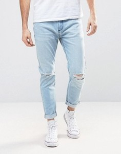 Рваные стретчевые джинсы слим с выбеленным эффектом и закатанными краями Rollas Rollies - Синий Rollas