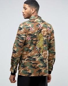 Камуфляжная куртка с тигром Liquor & Poker - Коричневый