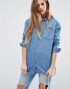 Джинсовая рубашка с вышивкой Daisy Street - Черный