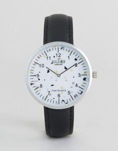 Часы с принтом и черным кожаным ремешком Reclaimed Vintage - Черный