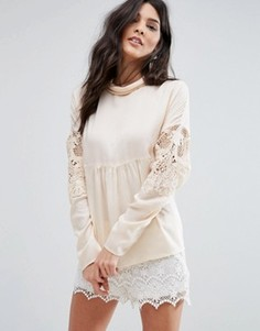 Блузка со сборками и кружевом Vila - Бежевый