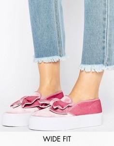 Кроссовки для широкой стопы с бантом ASOS DISCOVER - Розовый