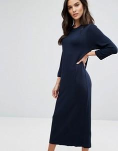 Трикотажное платье миди Selected - Темно-синий