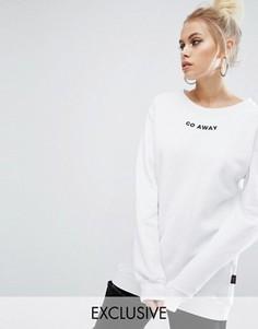Oversize-свитшот с вышивкой Go Away Adolescent Clothing Valentines - Белый