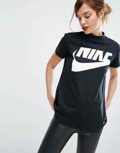 Черный длинный топ с высоким воротом Nike - Черный