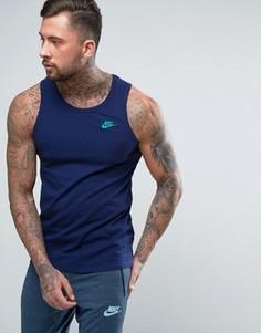 Синяя майка с вышитым логотипом Nike 827282-429 - Синий
