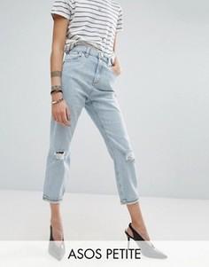 Выбеленные джинсы в винтажном стиле с рваными коленями ASOS PETITE - Синий