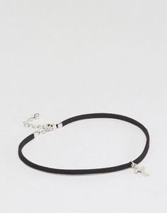 Черный браслет на щиколотку с подвеской-крестом ASOS - Черный