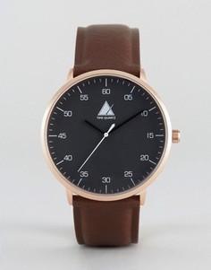 Часы с золотистым корпусом и коричневым ремешком ASOS - Коричневый