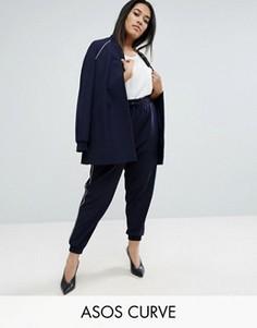 Комбинируемые брюки с кантом ASOS CURVE - Темно-синий