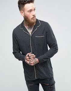Рубашка классического кроя из вискозы в пижамном стиле с окантовкой ASOS - Черный