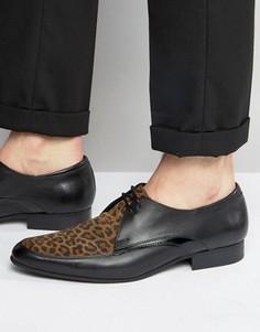 Туфли дерби с леопардовыми вставками House of Hounds - Черный