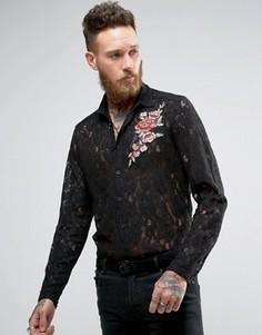 Кружевная рубашка классического кроя с цветочной вышивкой ASOS - Черный