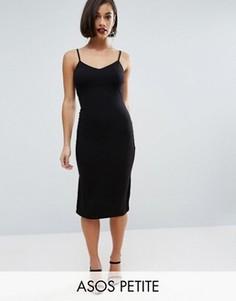Облегающее платье миди на бретельках ASOS PETITE - Черный