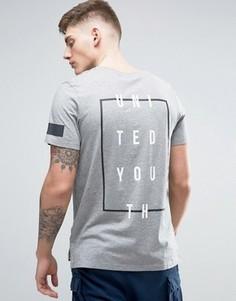 Длинная футболка с принтом на спине Jack & Jones - Серый