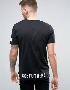 Длинная футболка с принтом на спине Jack & Jones - Черный